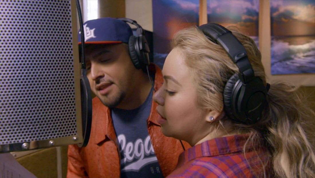 Juan and Chiquis in the studio